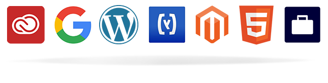 Adobe Creative Cloud, Google, WordPress, Hybris, Magento, HTML5, CSS, Facebook Business